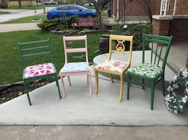 """Splash of colors"" individual chairs. Fusion paint colors, fun fabrics"