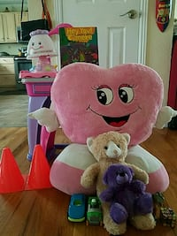 pink and white heart and two brown and purple bear plush toys Aurora, 80012