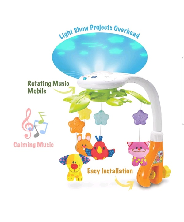KiddoLab Baby Crib Mobile with Lights and Relaxing