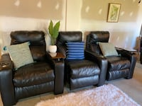 3 Leather Theater Seats / Power Recliners w/ LED Lights / Cup Holders. Omaha, 68116