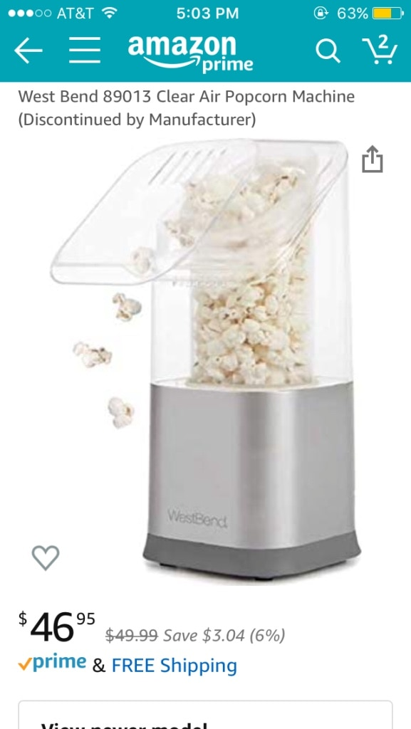 Discontinued by Manufacturer West Bend 89013 Clear Air Popcorn Machine