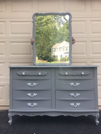 French Provincial Long Dresser With Mirror Gray With Mirror Manassas, 20112