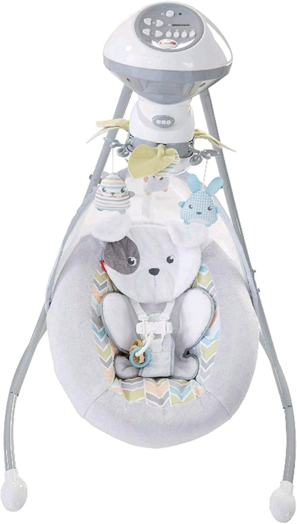baby's white and gray cradle and swing 3b3ff010-aff2-478a-9914-c1aed658844d