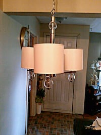 3 light fabric and glass Chandelier  Toronto, M6M 1T1