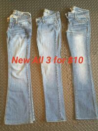 New 3 Pairs Size 0 Womens Jeans  3726 km