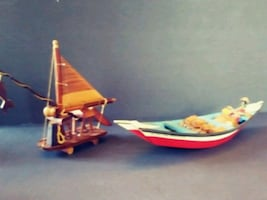 Two Wooden boats vintage hand made