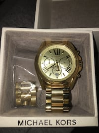 round gold Michael Kors chronograph watch with link bracelet 2055 mi