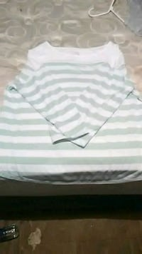 white and gray striped polo shirt Summerville, 30747