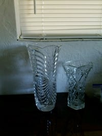 two clear cut glass vases 830 mi