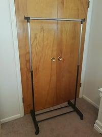 black and silver clothes rack