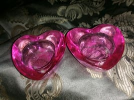 Pink glass heart candle holders