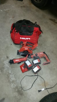 hilti 21.6v cordless tools with batteries/charger and a soft carrying case  (ABBOTSFORD) BURNABY