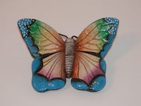 Blue and brown ceramic butterfly figurine 621 km