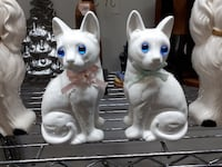 two white ceramic cat figurines HAMILTON