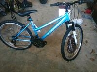 blue and black Huffy mountain bike 56 km