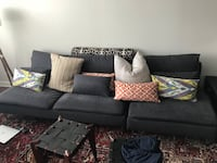 black fabric sectional sofa with throw pillows Norfolk, 23508