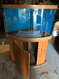 brown wooden framed glass fish tank Mississauga, L4W