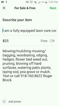WEED AND MOW BITING DOGS OKAY $25 1/4 acre lots.   Tulsa, 74105