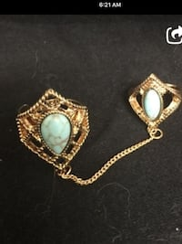 18 k gold plated turquoise  double ring Adamstown, 19501