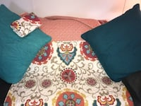 "$45.  (  Not $5 !) Queen cotton coverlet with 1 matching standard sham & 2 large throw pillows 26"" x 26"" Hobe Sound"