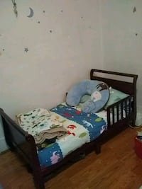 Cherry red wood bed frame and new mattress Los Angeles, 90004