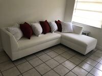 white leather sectional sofa with throw pillows Hollywood, 33020