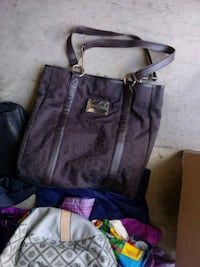 purple and black leather tote bag Bunker Hill, 25413