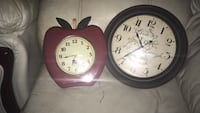round black analog wall clocks and red apple shaped clock Toronto, M9W