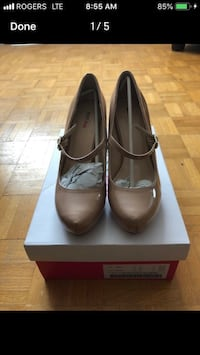 pair of brown leather flats on box Mississauga, L5M 4Y8