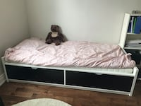 White and black malm single bed from Ikea Richmond Hill