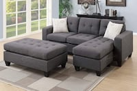 New grey polyfiber tufted sectional with ottoman