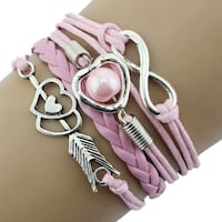 Fashion Infinity Love Heart Pearl Friendship Antique Leather Charm Bracelet BU London
