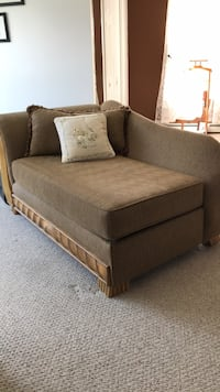 Brown fabric padded sofa chaise lounge. Comfortable, nice
