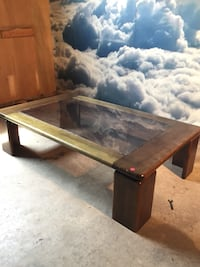 rectangular brown wooden framed glass-top coffee table Whitby, L1M 1L4