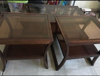 Coffee table and Two brown wooden side tables. 2379 mi