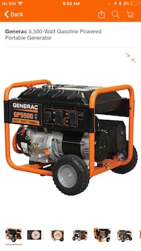 Generac 5,500-Watt Gasoline Powered Portable Generator Washington, 20016