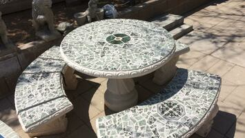 Round tile top tables