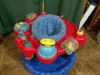 baby's red and blue activity saucer
