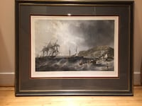 """Off Portland"" antique etching by Charles Mottram (British, 1807-1876) after a painting by J. W. Carmichael Bethesda"