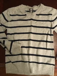 gray and black stripe v-neck sweater Pawleys Island, 29585