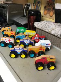 12 wooden cars