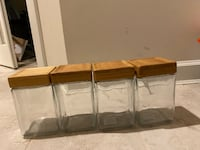 Anchor Hocking (4 Pack) 48 Ounce Glass Jars Container Bamboo Lid Airtight Seal Stackable Herndon