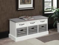 White/Weathered Gray Entry Storage Bench