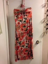 red and black floral sleeveless dress Toronto, M1E 1L8