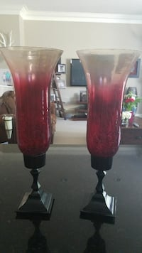 two clear-and-red glass footed candle holders Edmonton, T6W 0E8