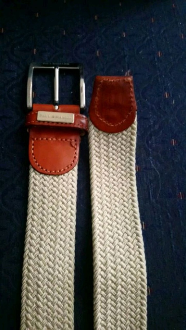 red and white leather belt