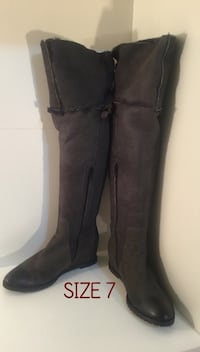 Pour La Victoire Grey Leather Thigh High Boots: Size 6.5-7: REDUCED!!! Brampton, L7A