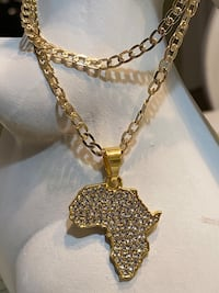 Gold Plated Africa Pendant With Chain Necklace
