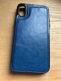 Blue leather iPhone X/XS flip case Calgary, T3E