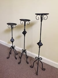 Set-  3 Black metal candle holders. 45 km